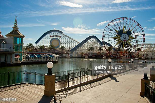 the rollercoaster at the paradise pier in disneyland. - disney stock pictures, royalty-free photos & images
