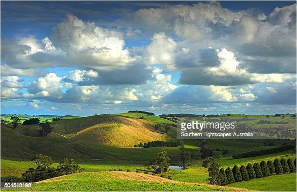 The rolling countryside in south Gippsland near the town of Fish Creek, Victoria.