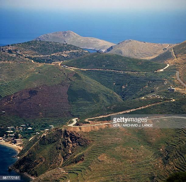 The rolling hills which separate Porto Kagio left from Marmari Mani peninsula Peloponnese Greece