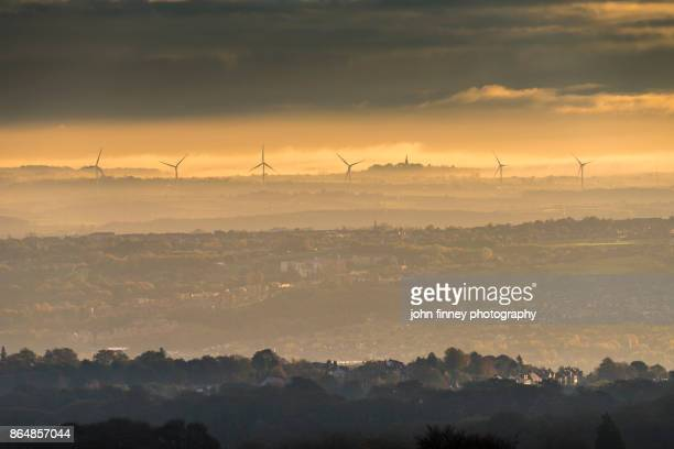 the rolling landscape of rotherham in south yorkshire at sunrise. uk - rotherham stock photos and pictures