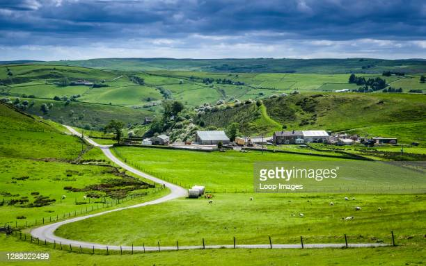 The rolling landscape of the Derbyshire Peak District near Buxton.