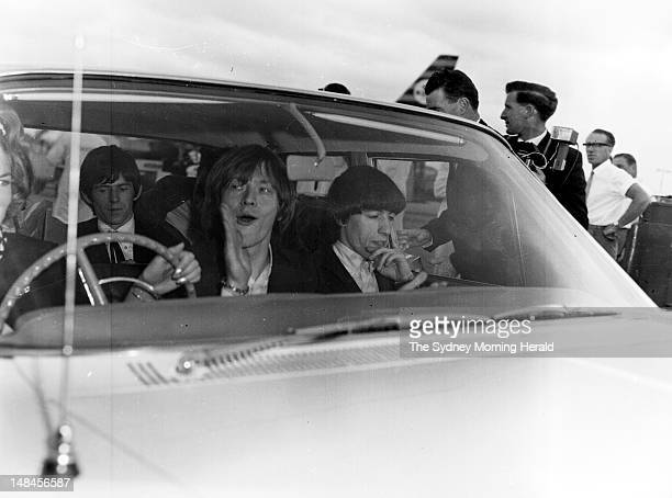 The Rolling Stones are greeted by excited fans at Mascot Airport at the beginning of their Australian tour January 21 1965