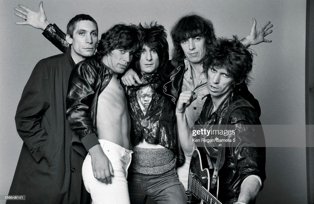 Charlie Watts, Mick Jagger, Ronnie Wood, Bill Wyman and Keith Richards) are photographed at the Camera 5 studios in 1977 in New York City.