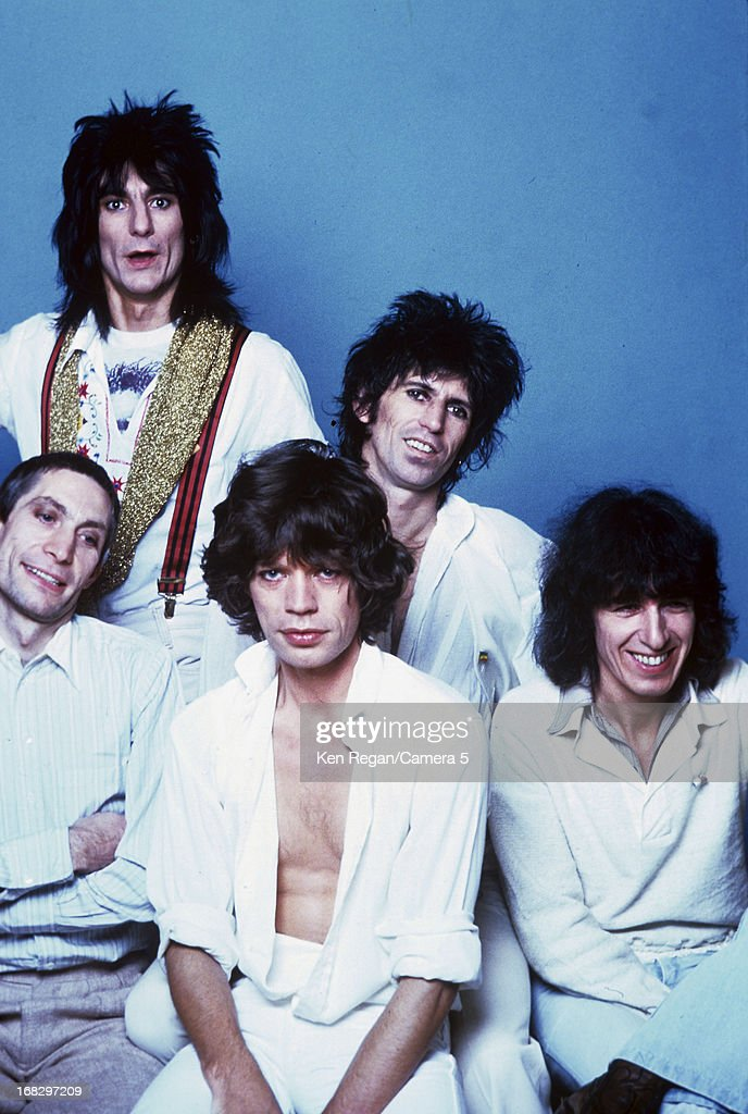 Charlie Watts, Ronnie Wood, Mick Jagger, Keith Richards and Bill Wyman) are photographed at the Camera 5 studios in 1977 in New York City.