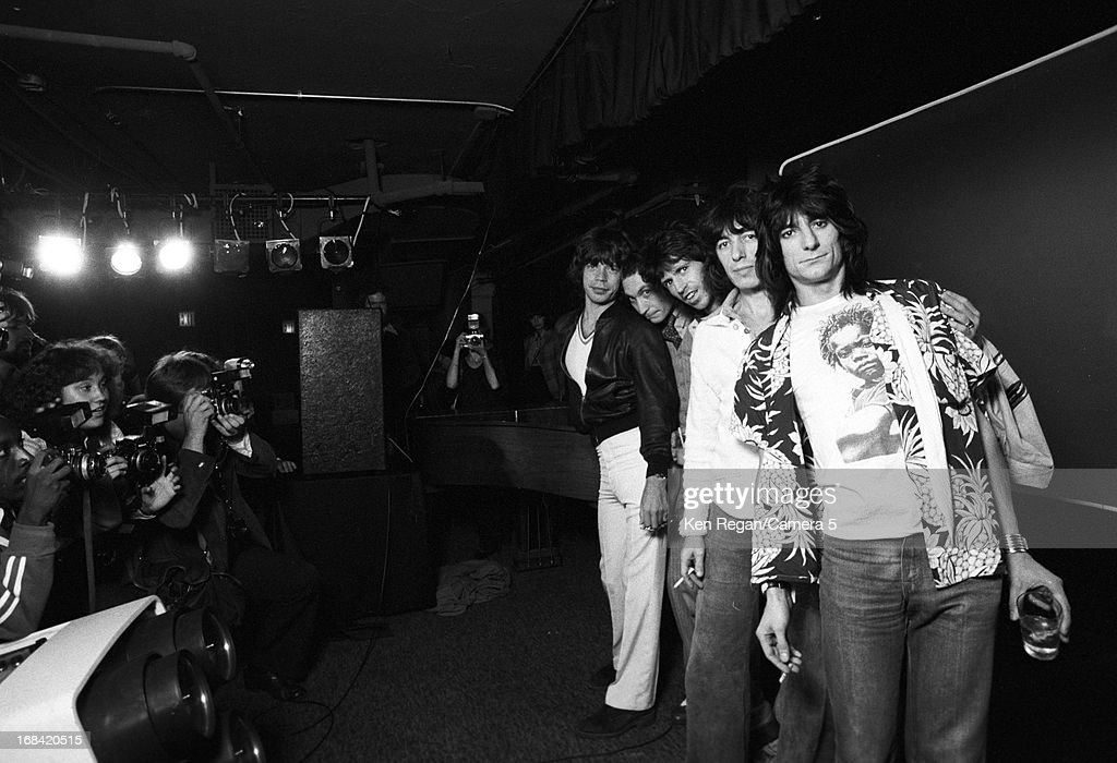 Mick Jagger, Charlie Watts, Keith Richards, Bill Wyman and Ronnie Wood) are photographed on September 26, 1977 at Tracs in New York City.