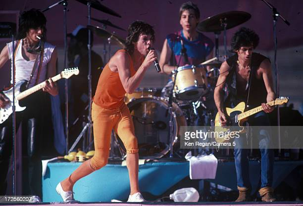 The Rolling Stones are photographed on stage at Wembley Stadium on June 2526 1982 in London England CREDIT MUST READ Ken Regan/Camera 5 via Contour...