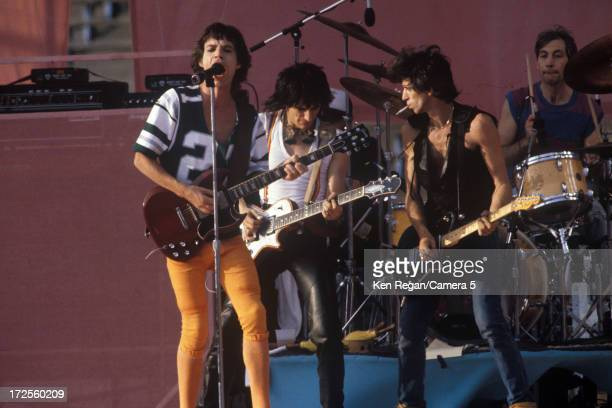 The Rolling Stones are photographed on stage at Wembley Stadium on June 25-26, 1982 in London, England. CREDIT MUST READ: Ken Regan/Camera 5 via...