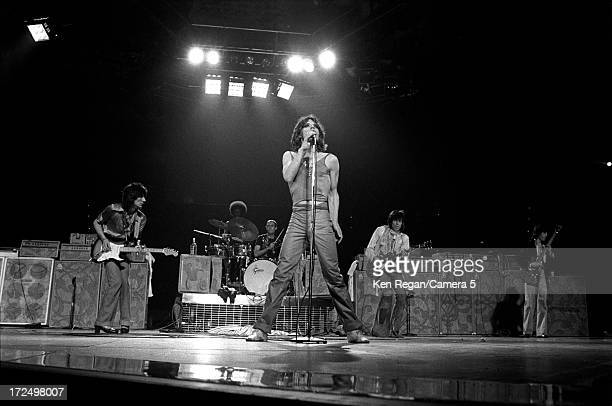 The Rolling Stones are photographed on stage in June 1975 in Baton Rouge Louisiana CREDIT MUST READ Ken Regan/Camera 5 via Contour by Getty Images