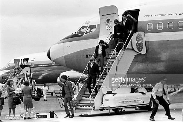 The Rolling Stones arrive at Mascot Airport for their 1965 Australian tour January 21 1965