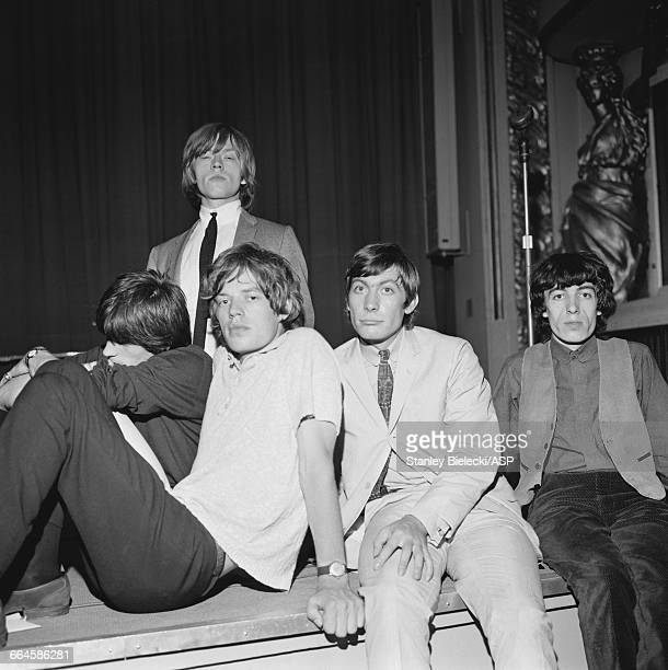 The Rolling Stones at a BBC radio recording session at the Playhouse Theatre London circa 1965 Left to right Keith Richards Brian Jones Mick Jagger...