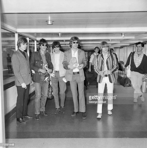 The Rolling Stones at London Airport on their way to start their US tour in New York 24th July 1966 From left to right Charlie Watts Keith Richards...