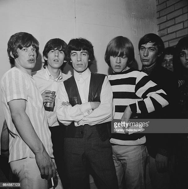 The Rolling Stones at Television House London for an appearance on the TV show 'Ready Steady Go' 26th June 1964 Left to right Mick Jagger Keith...