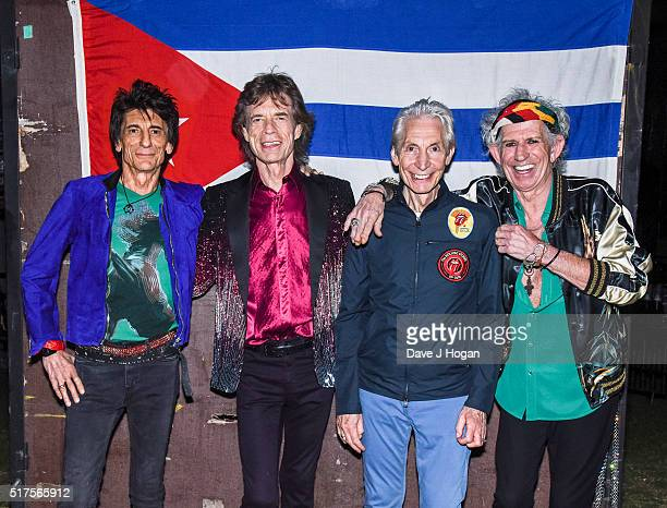 The Rolling Stones backstage before their concert at Ciudad Deportiva on March 25 2016 in Havana Cuba