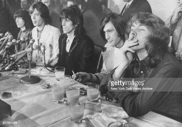 The Rolling Stones Bill Wyman Mick Jagger Keith Richards Charlie Watts and Mick Taylor hold a news conference in the Rainbow Room in New York