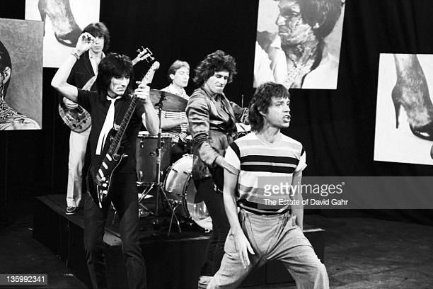 The Rolling Stones Bill Wyman Ron Wood Charlie Watts Keith Richards and Mick Jagger during a rehearsal at SIR Studios on June 30 1981 in New York...