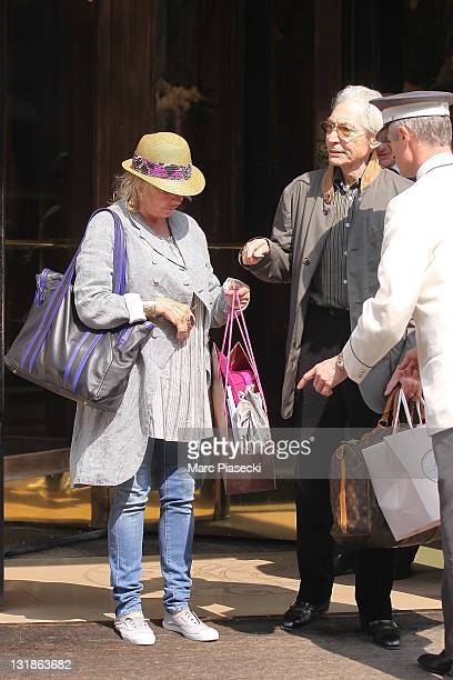 The Rolling Stones' drummer Charlie Watts and his wife Shirley spotted leaving the 'Plaza Athenee' on April 30 2011 in Paris France
