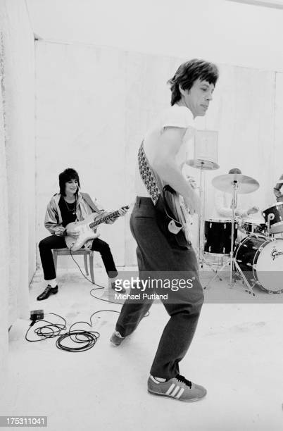 The Rolling Stones during the production of the music video for 'Respectable' in New York 1978 L R Ronnie Wood and Mick Jagger