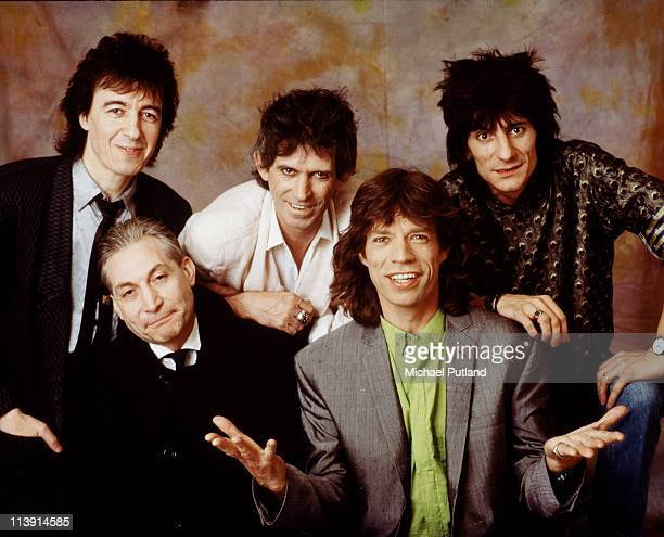 The Rolling Stones in London 1986 Left to right bassist Bill Wyman drummer Charlie Watts guitarist Keith Richards singer Mick Jagger and guitarist...