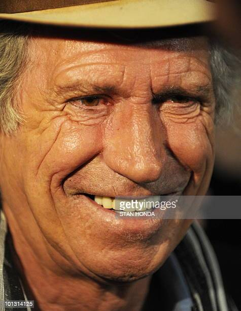 "The Rolling Stones Keith Richards speaks to journalists before a screening of The Rollling Stones new documentary ""Stones in Exile"" and the..."