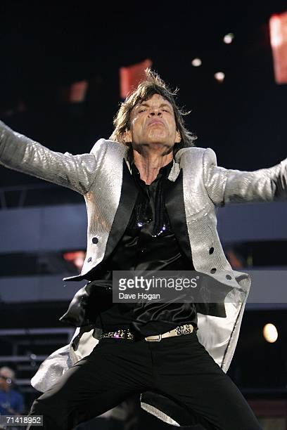 The Rolling Stones member Mick Jagger performs on stage at San Siro Stadium on July 11 2006 in Milan Italy The concert marks the start of the rock...