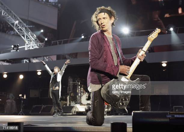 The Rolling Stones members Keith Richards and Mick Jagger perform on stage at San Siro Stadium on July 11 2006 in Milan Italy The concert marks the...