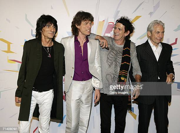 The Rolling Stones members Ron Wood Mick Jagger Keith Richards and Charlie Watts attend a photocall ahead of tomorrow's concert at Hotel Principe di...