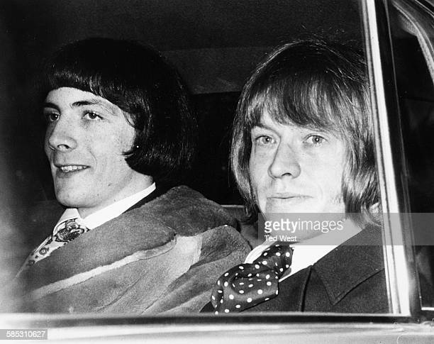 'The Rolling Stones' musician Brian Jones and Prince Stanislas Klossowski de Rola in the back of a car as they arrive at West London Magistrates...