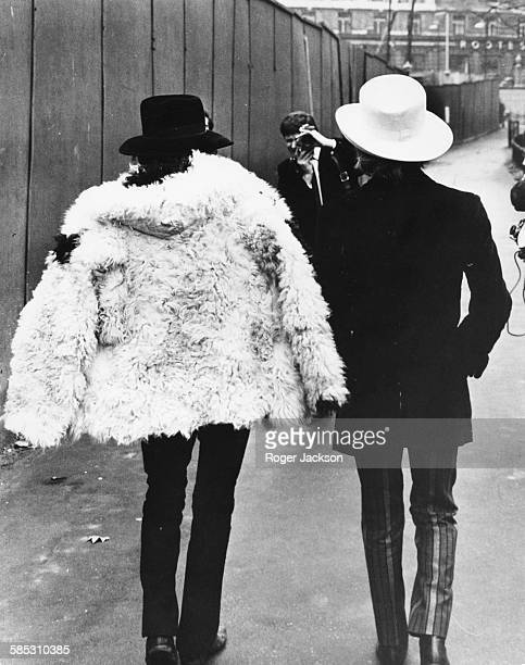 'The Rolling Stones' musicians Brian Jones and Keith Richards pictured walking away from camera during a photocall in Green Park London January 11th...