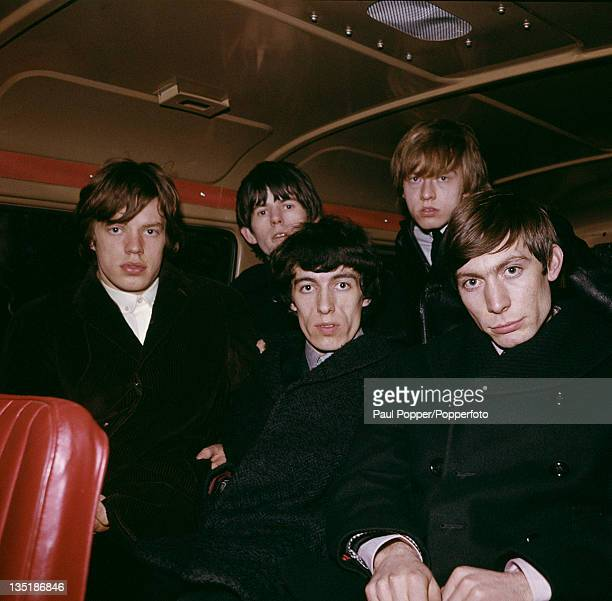 The Rolling Stones on a tour bus 1963 Left to right Mick Jagger Keith Richards Bill Wyman Brian Jones and Charlie Watts