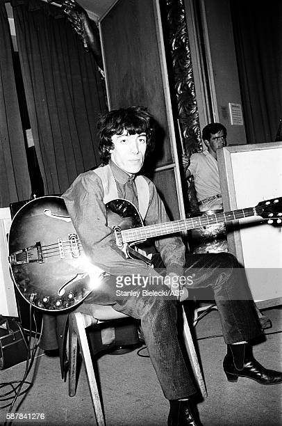 The Rolling Stones on stage during rehearsals for a BBC radio broadcast at the Playhouse Theatre London circa 1964 LR Bill Wyman Ian Stewart