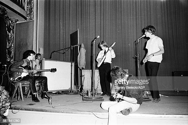 The Rolling Stones on stage during rehearsals for a BBC radio broadcast at the Playhouse Theatre London circa 1964 LR Bill Wyman Charlie Watts Brian...