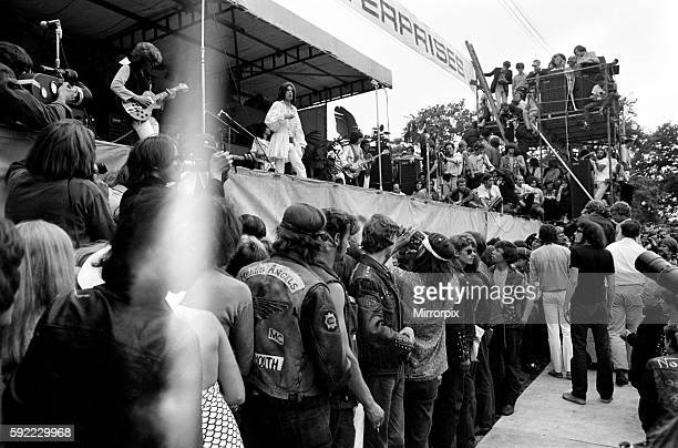 The Rolling Stones on stage watched by Hells Angels at their free concert in London's Hyde Park on 5 July 1969