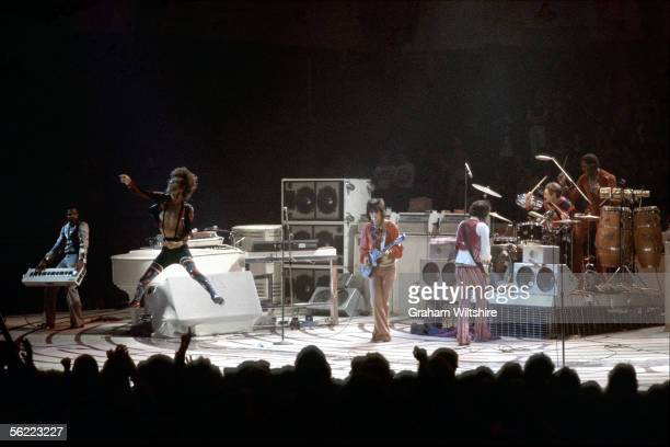 The Rolling Stones perform at Earl's Court London 22nd May 1976 Left to right Billy Preston Mick Jagger Ronnie Wood Keith Richards Charlie Watts and...