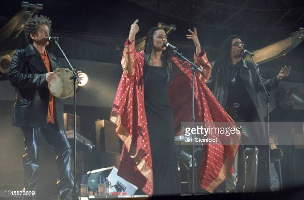 The Rolling Stones perform at Giant Stadium in East Rutherford, New Jersey on October 17, 1997.