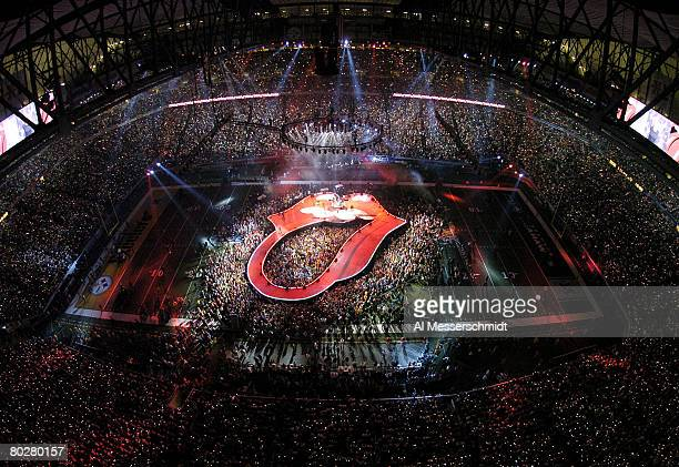 The Rolling Stones perform at halftime during Super Bowl XL between the Pittsburgh Steelers and Seattle Seahawks at Ford Field in Detroit Michigan on...