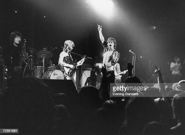 The Rolling Stones perform at the Roundhouse, London, 14th March 1971. The band features Bobby Keys on saxophone, left, and Mick Taylor on guitar,...