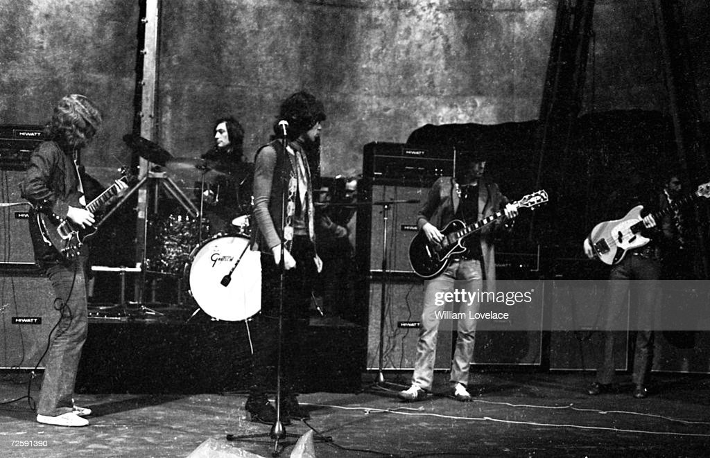 The Rolling Stones perform at the Saville Theatre, London, 14th December 1969. Left to right: Mick Taylor, Charlie Watts, Mick Jagger, Keith Richards and Bill Wyman.