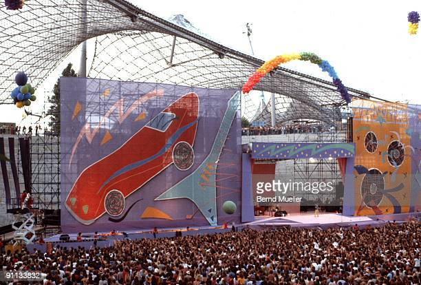 The Rolling Stones perform live in Munich Olympic Stadium during their 1982 European Tour on June 10 1982