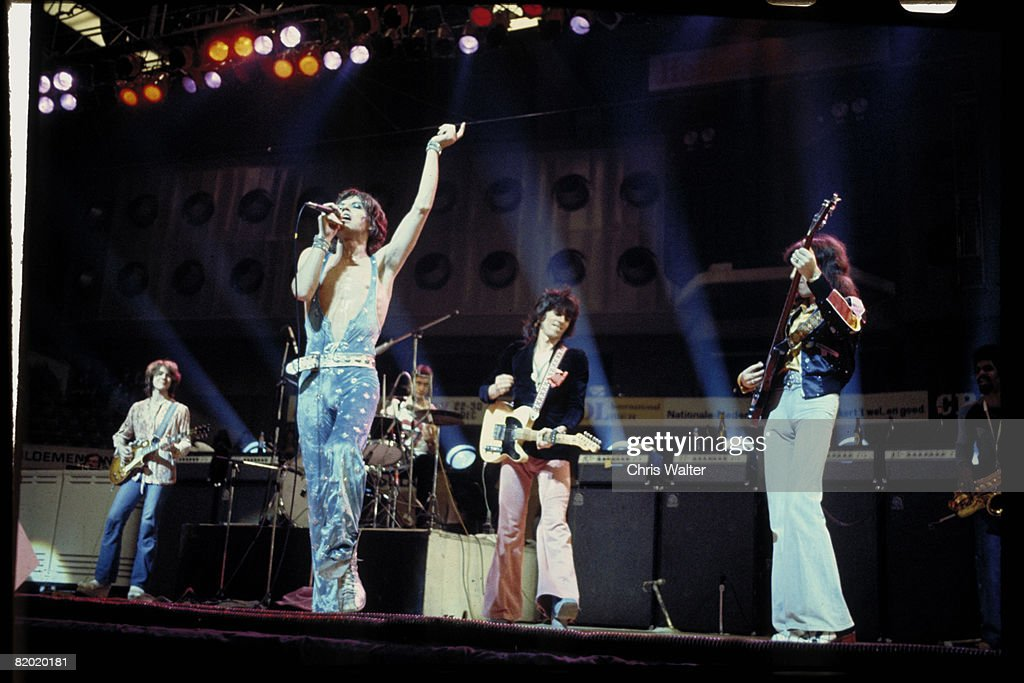 The Rolling Stones perform live on stage at Ahoy in Rotterdam, Netherlands, during their European Tour, 13th October 1973. Left to right: Mick Taylor, Mick Jagger, Charlie Watts, Keith Richards, Bill Wyman and Trevor Lawrence.