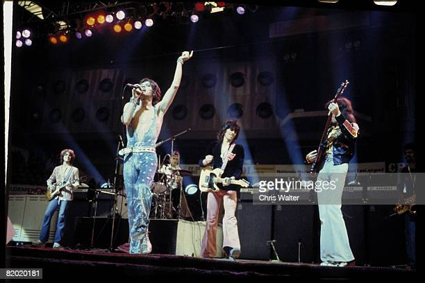 The Rolling Stones perform live on stage at Ahoy in Rotterdam, Netherlands, during their European Tour, 13th October 1973. Left to right: Mick...