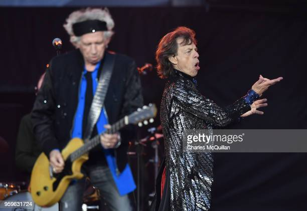 The Rolling Stones perform live on stage on the opening night of the european leg of their No Filter tour at Croke Park on May 17 2018 in Dublin...