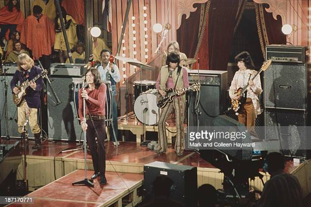 The Rolling Stones perform live on stage on the set of the Rolling Stones Rock and Roll Circus at Intertel TV Studio in Wembley London on 11th...
