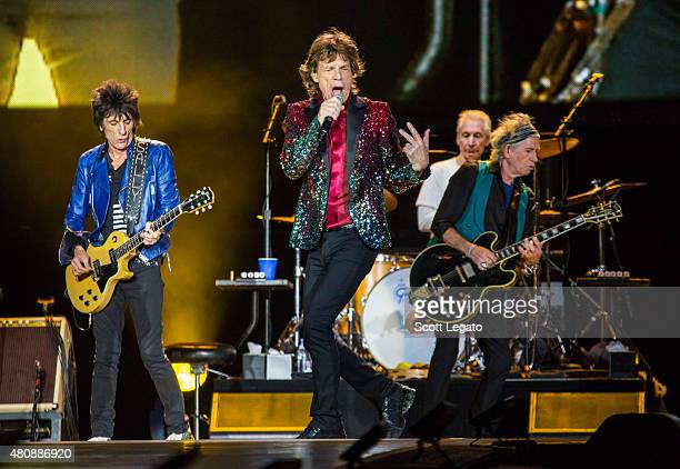 The Rolling Stones perform on last date of Zip Code Tour 2015 Tour at Festival D'ete De Quebec on July 15 2015 in Quebec City Canada