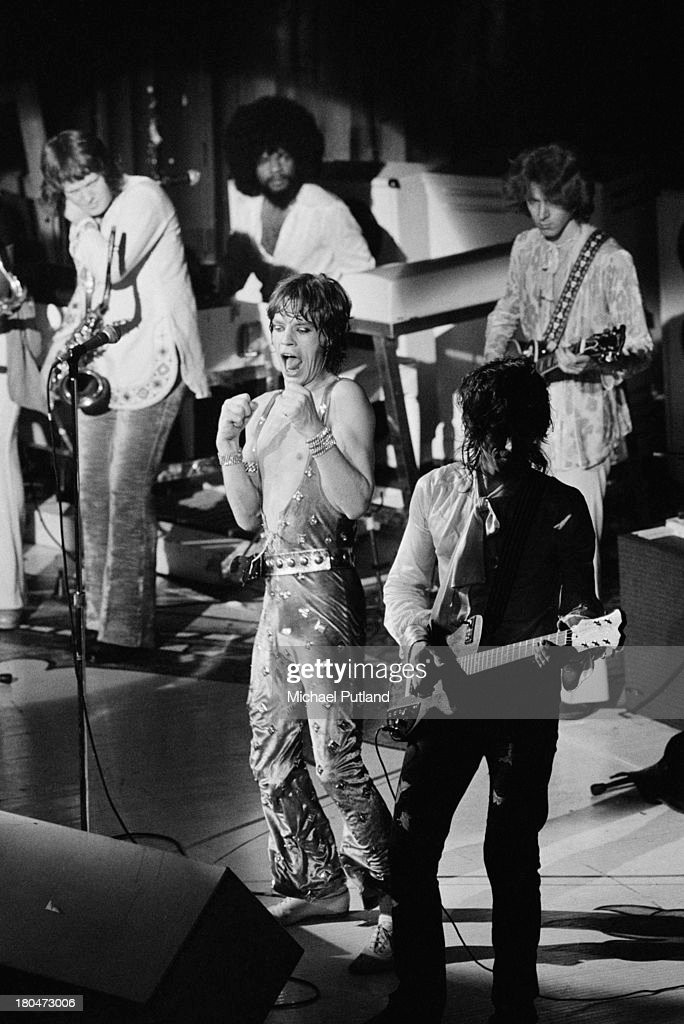 The Rolling Stones performing at one of their two Apollo Theatre shows in Glasgow, 16th-17th September 1973. Clockwise, from left: saxophonist Bobby Keys, keyboard player Billy Preston (1946 - 2006), guitarist Mick Taylor, guitarist Keith Richards and singer Mick Jagger.