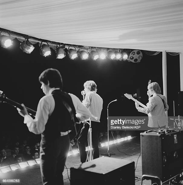 The Rolling Stones performing at the fourth National Jazz and Blues Festival at The Athletic Ground Richmond London 7th August 1964 Left to right...