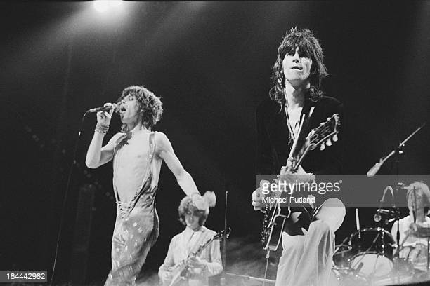 The Rolling Stones performing at the Sportpaleis AHOY, Rotterdam, Netherlands, 13th-14th October 1973. Left to right: Mick Jagger, Mick Taylor, Keith...
