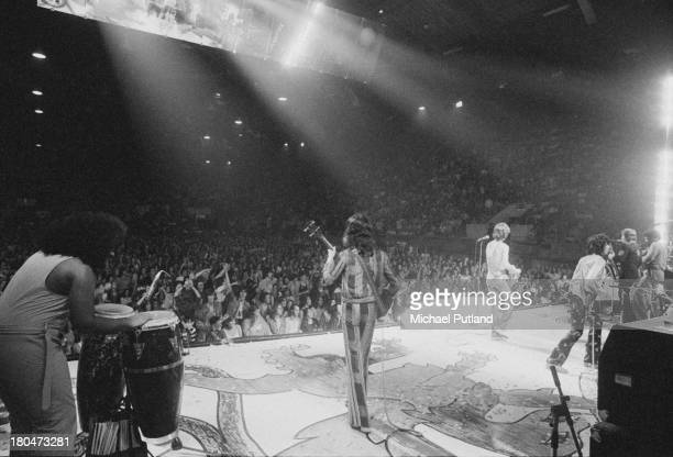 The Rolling Stones performing at Wembley Empire Pool London 8th September 1973 Left to right Manuel Kellough Bill Wyman Mick Jagger Keith Richards...