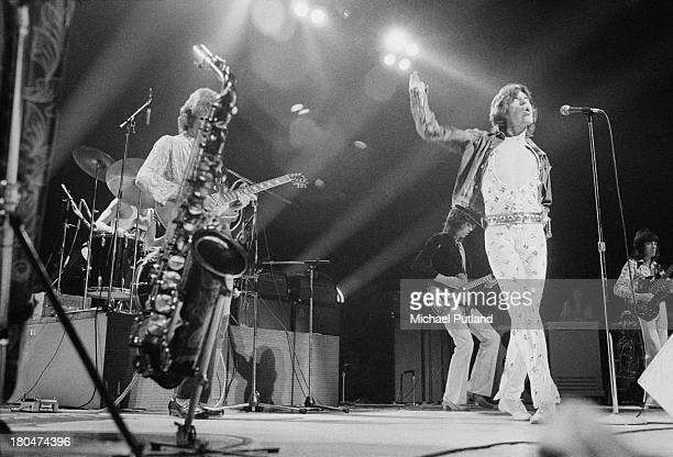 The Rolling Stones performing at Wembley Empire Pool London 8th September 1973 Left to right Charlie Watts Mick Taylor Keith Richards Mick Jagger and...
