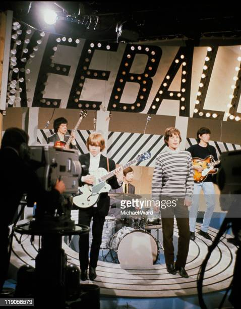 The Rolling Stones performing in a television studio Bill Wyman Brian Jones Mick Jagger Keith Richards and Charlie Watts 1965