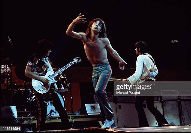 The Rolling Stones performing on stage circa 1975 Left to right Ronnie Wood Mick Jagger and Keith Richards